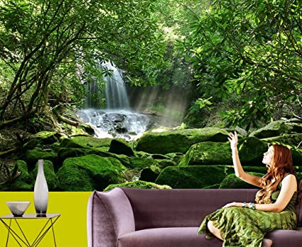 Buy Waterfall And Greenery 3d Wallpaper Available In All