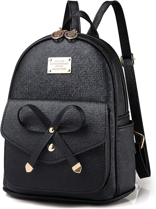 Amazon.com: Mini mochila de piel para niñas con lazo de moda ...