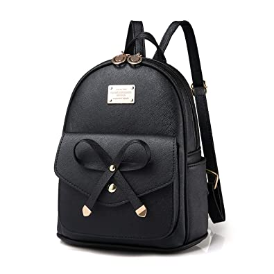 9bc61be2b9a2a Amazon.com: Girls Leather Mini Backpack Purse Cute Bowknot Fashion Small  Backpacks Purses for Teen Women - Black: Shoes