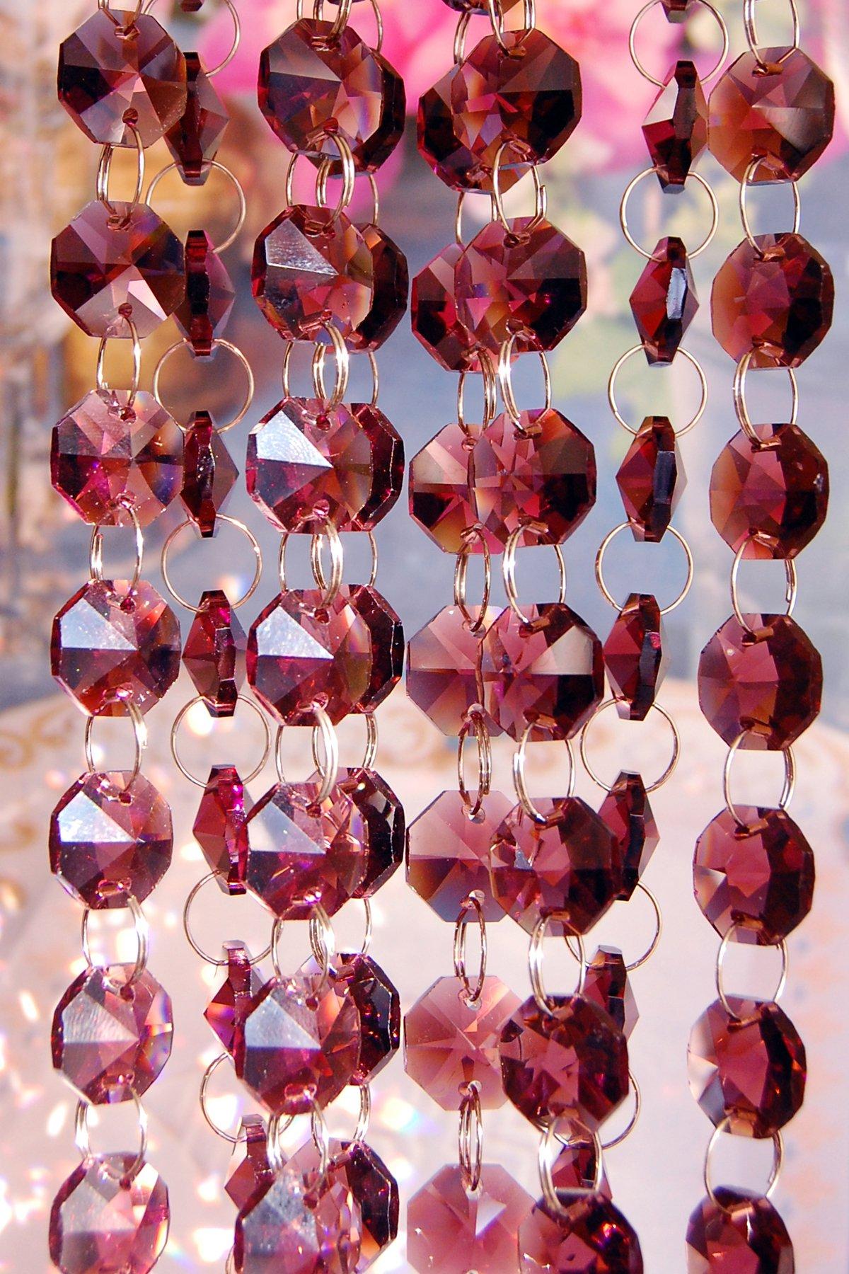 3 Feet Long of Purple Lead Glass Crystal Octagon Chandelier Prisms Pedants Parts