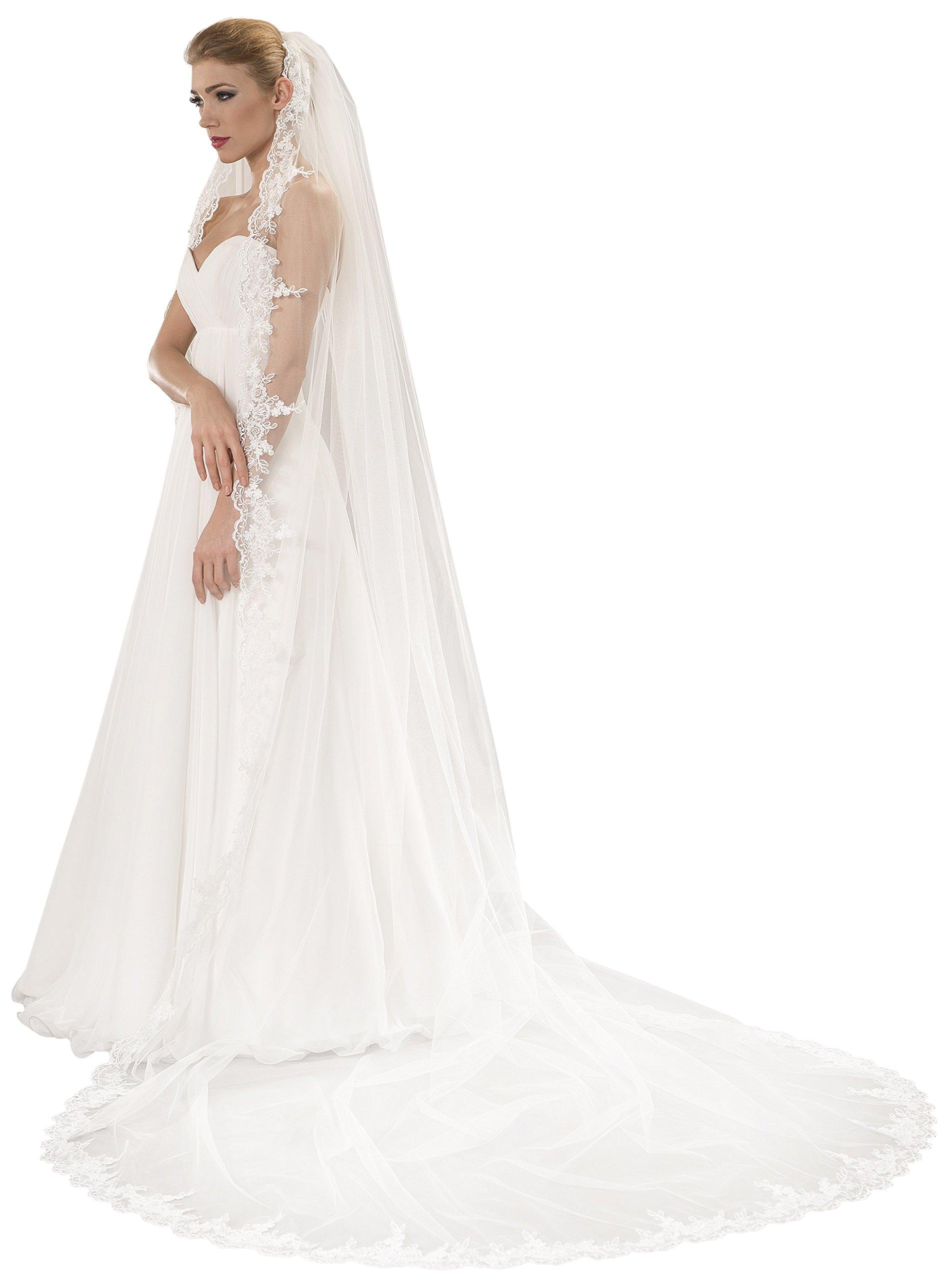 OssaFashion-BridalWear Wedding 1-Tier Cathedral Bridal Veil Decorated With Lace Edge (Ivory)