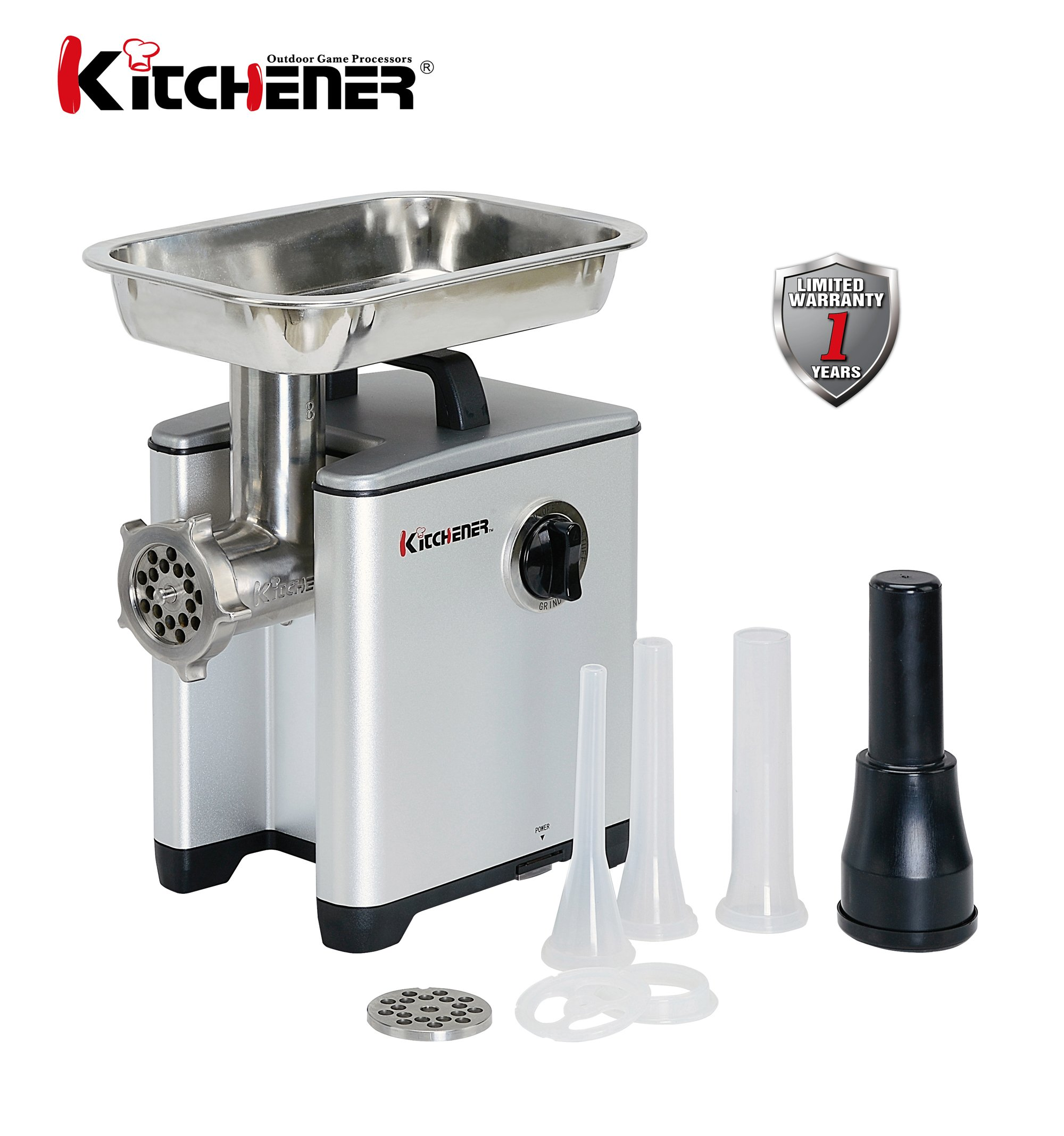 KITCHENER Heavy Duty Commercial Grade Electric Stainless Steel High HP Meat Grinder (240-lbs Per Hour)