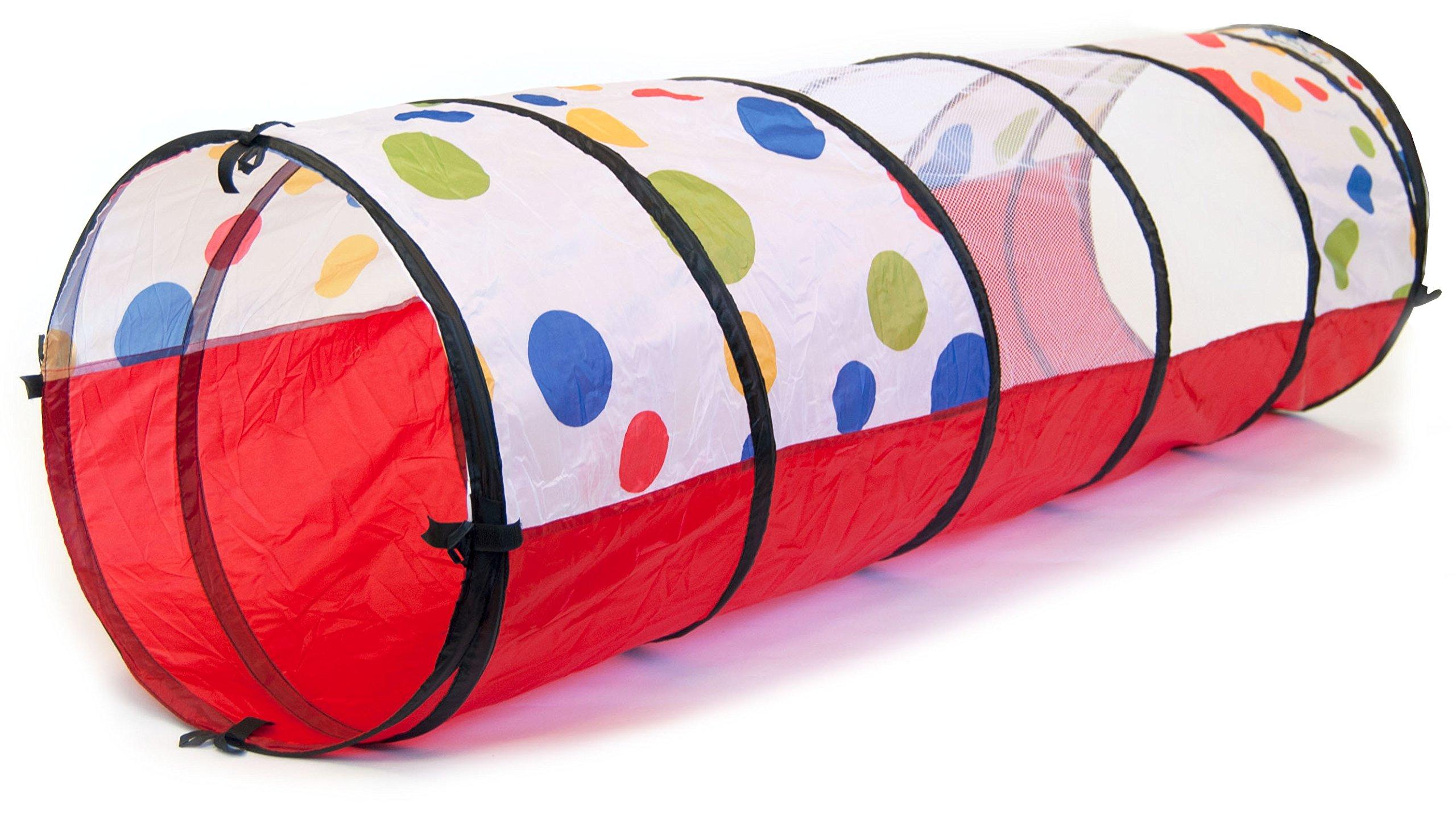 eWonderWorld Jumbo Polka Dot Development Crawl Play Tunnel Safety Meshing & Tote Bag, 20'' x 69''