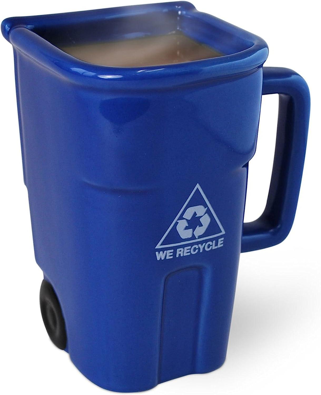 BigMouth Inc The Recycling Bin Mug, Fun Blue Ceramic Trash Can Drinking Mug for Coffee or Tea, Holds up to 12 oz.