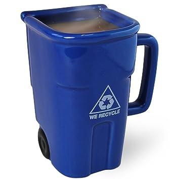 For Recycling Coffee Or Inc TeaHolds Blue Bin Oz 12 Can Bigmouth Up The MugFun Ceramic Drinking Trash Mug To rotshxQdCB