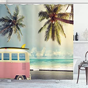 "Ambesonne Surf Shower Curtain, Minivan The Beach Retro Inspired Vacation Clouds in Summer Sky Honeymoon Destination, Cloth Fabric Bathroom Decor Set with Hooks, 70"" Long, Green Pink"