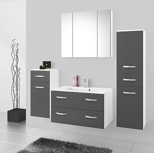 Küchen-Preisbombe Badmöbel Badezimmer Regina 5tlg Set in Grau matt + Weiss matt 80 cm Waschtisch 1