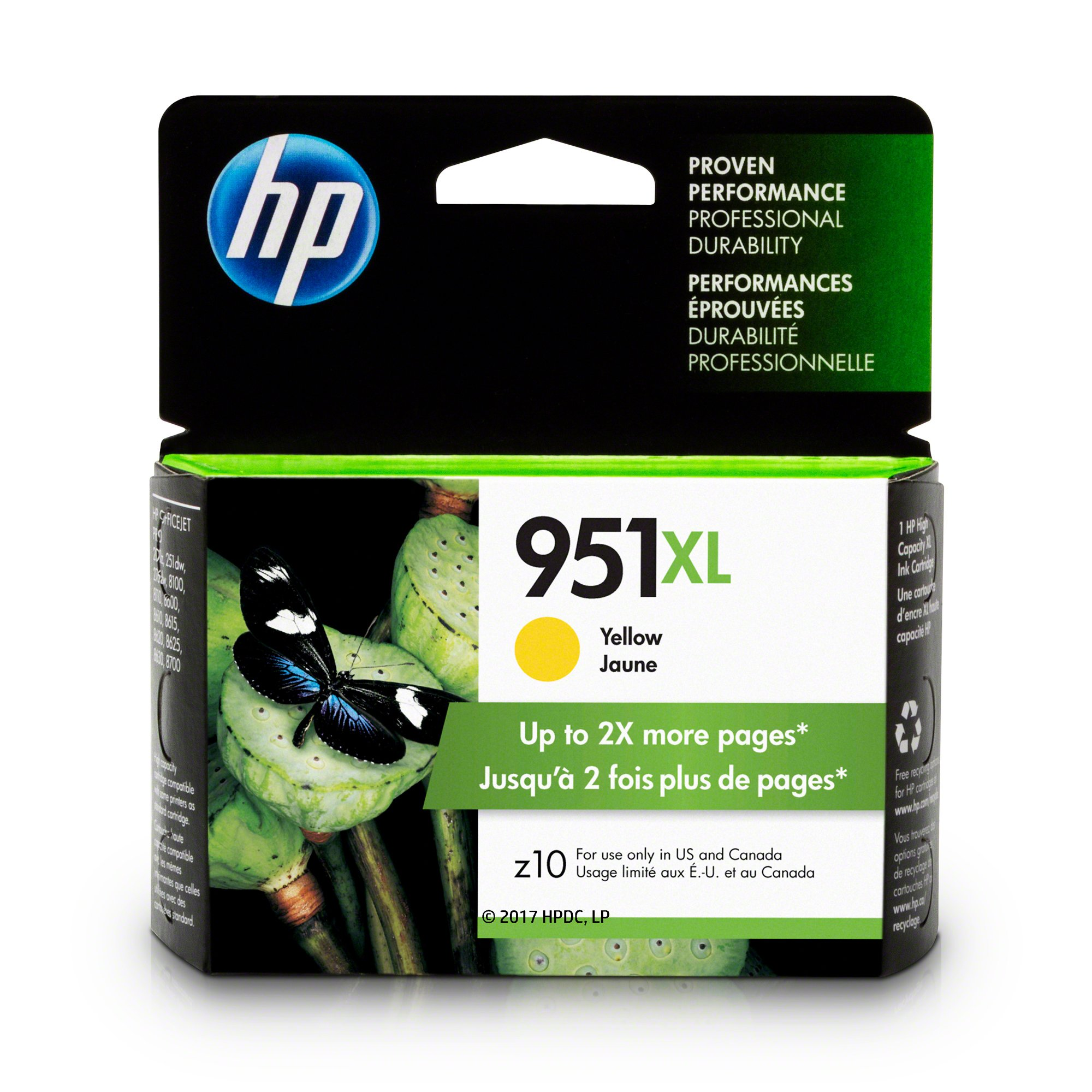 HP CN048AN#140 951XL Ink Cartridge, Yellow High Yield (CN048AN) for Officejet Pro 251, 276, 8100, 8600, 8610, 8620, 8625, 8630…