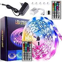 MOZC Ledstrip 5M, IP65 Waterdicht Veelkleurig RGB LED Strip, Gecontroleerd door IR-afstandsbediening, voor Slaapkamer…