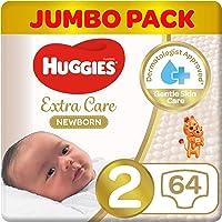 Huggies Newborn, Size 2, 4-6 kg, Jumbo Pack, 64 Diapers