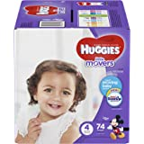 HUGGIES LITTLE MOVERS Diapers, Size 4 (22-37 lb.), 74 Ct., GIGA JR PACK (Packaging May Vary), Baby Diapers for Active Babies