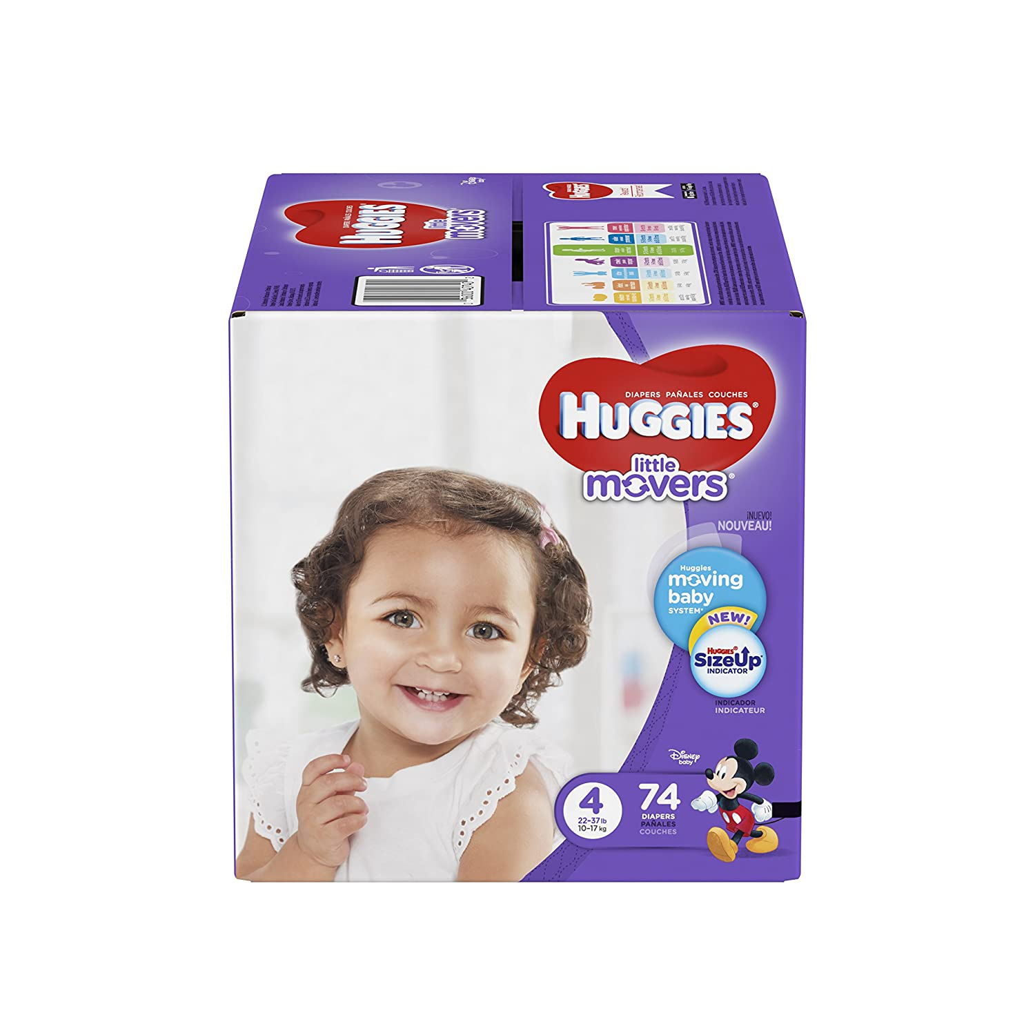 Amazon.com: HUGGIES LITTLE MOVERS Diapers, Size 4 (22-37 lb.), 74 Ct., GIGA JR PACK (Packaging May Vary), Baby Diapers for Active Babies: Health & Personal ...