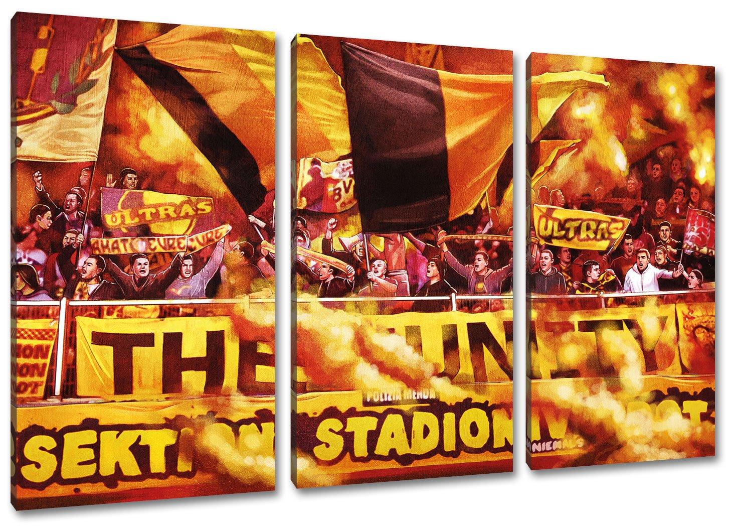 Dortmund Ultras, 3-Teiler Format  120x80, Bild auf Leinwand XL, fertig gerahmt