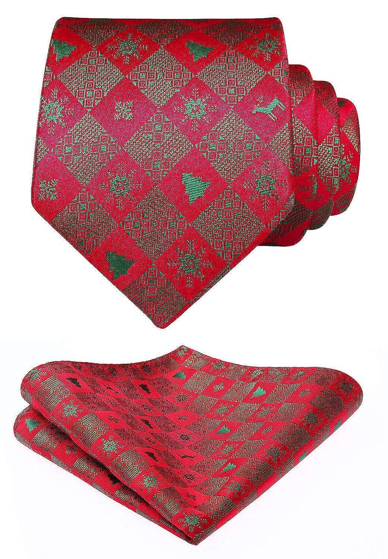 HISDERN Men's Christmas Tie Woven Party Necktie & Pocket Square Set TG109H8S