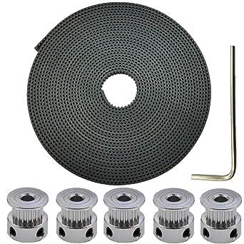 Tenlacum GT2 - Correa de distribución de goma de 6 mm de ancho y 5 poleas de ...