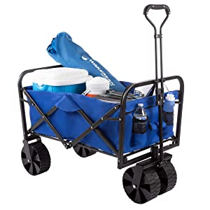 Pure Garden Collapsible Utility Wagon with Telescoping Handle – Heavy Duty Folding Wheeled Cart for Camping, Gardening, Landscaping and Shopping.