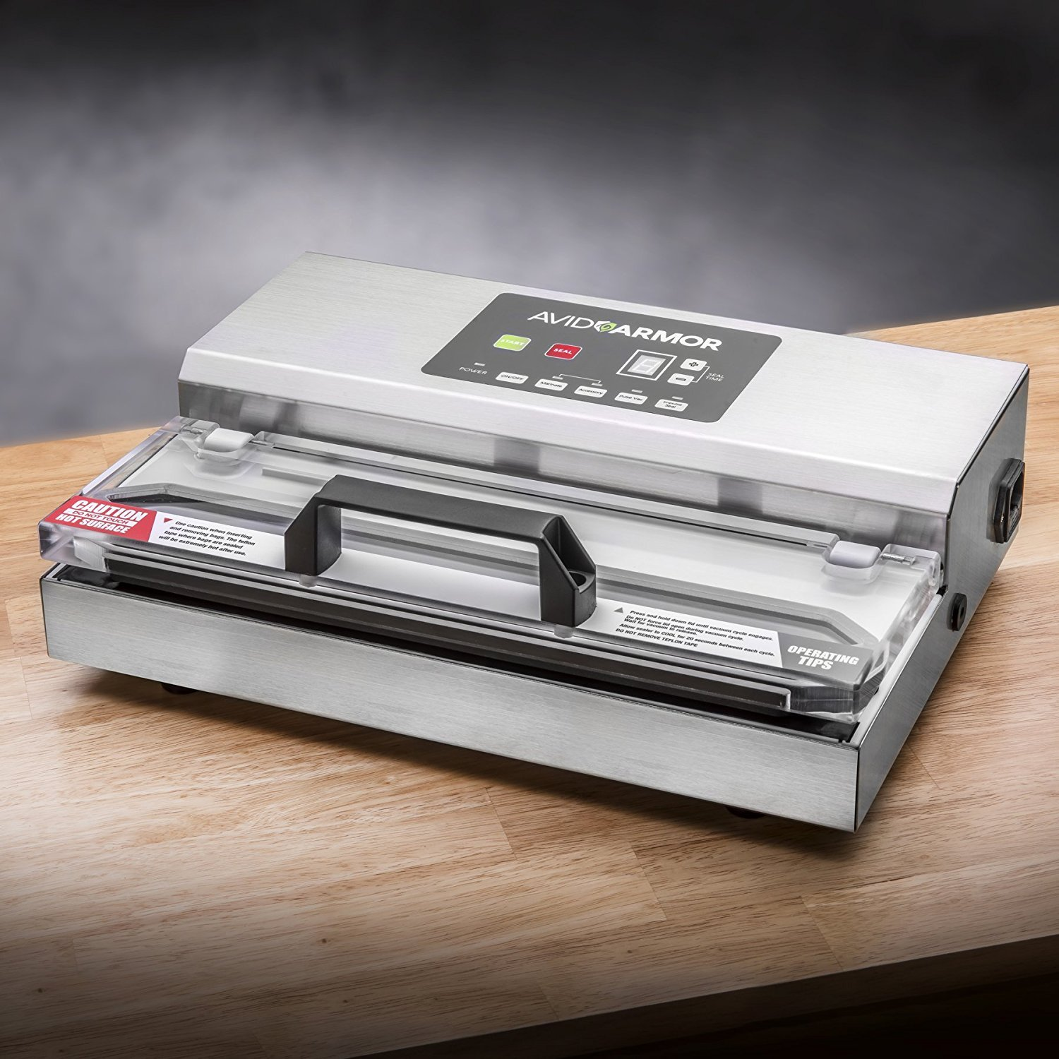 Avid Armor Vacuum Sealer Machine - A100 Stainless Construction, Clear Lid, Commercial Double Piston Pump Heavy Duty 12'' Wide Seal Bar Built in Cooling Fan Includes 30 Pre-cut Bags and Accessory Hose by Avid Armor (Image #2)