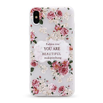 Imifun 3d Relief Flower Silicon Phone Case For Iphone Xs Max Xr Xs Rose Floral Iphone Cases Soft Tpu Cover 5617 Xr