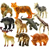 HNVOUER Animals Figure, 5 inches Jungle Animals Toys Set, 10 Pieces Plastic Animals Action Figure Toys Set, Forest Animals Toys Playset, Realistic Wild Animal, Eduactional Toys For Kids Toddler