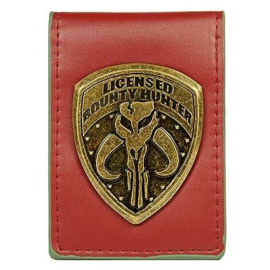 amazon com star wars bounty hunter metal badge folder bi fold