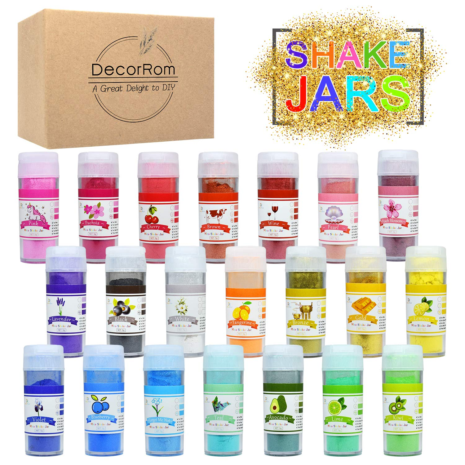 Mica Powder 21 Color Shake Jars - Slime Coloring Pigment Powder - Pearl Epoxy Resin Color Pigment - Soap Dye Colorant for Soap Making, Paint, Bath Bomb, Slime Supplies Kit