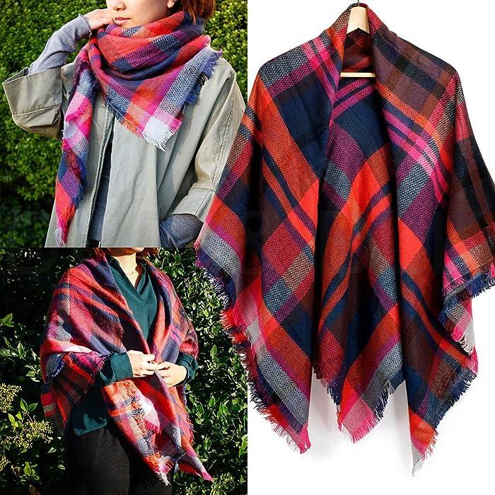 7ca575592cd Warm Women Long Blanket Oversized Tartan Scarf Wrap Shawl Plaid Cozy ...