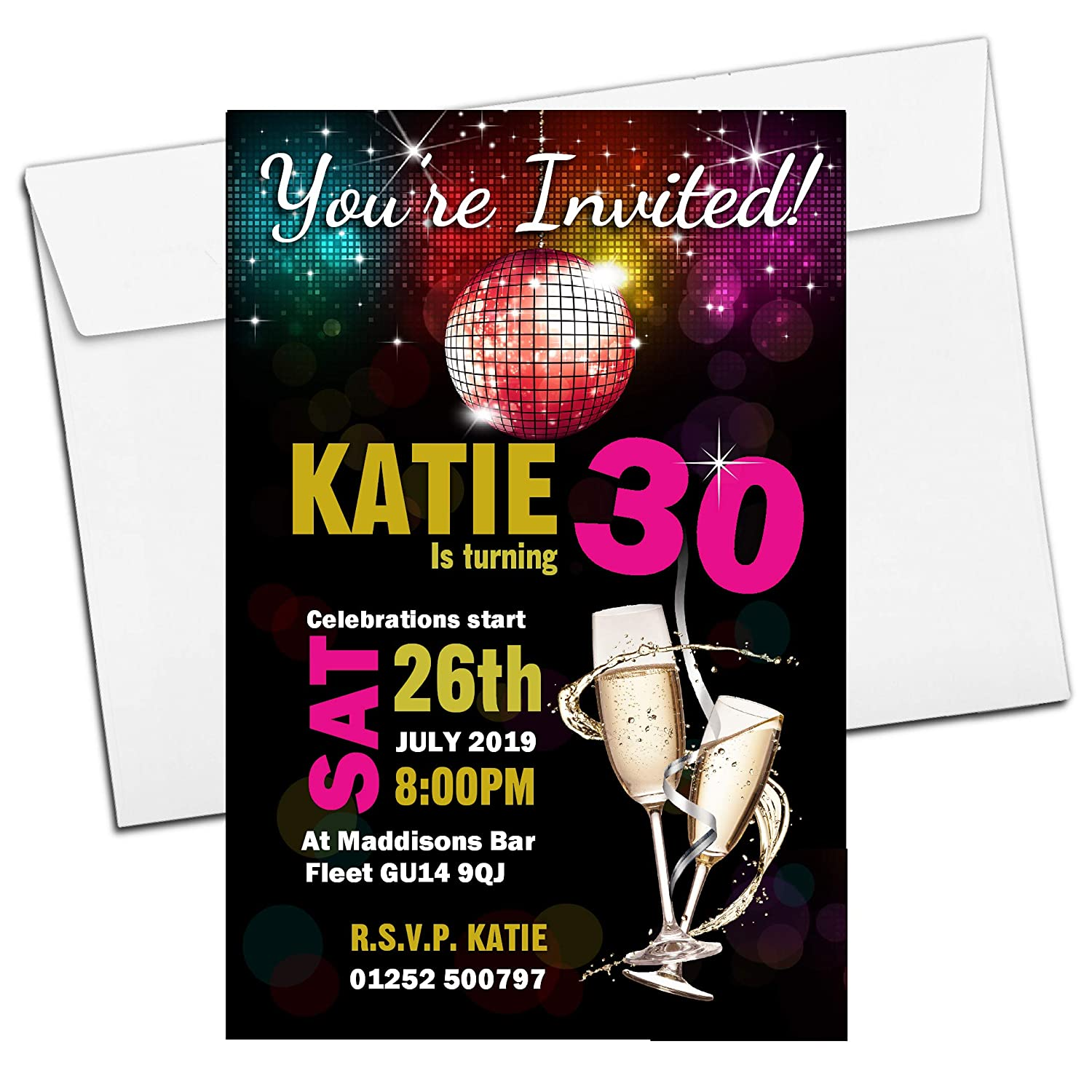 10 Personalised 18th 21st 30th 40th 50th 60th Adult Birthday Party Invitations N184 - ANY AGE The Personalised Party Co.
