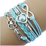 Chianrliu Bracelet à Breloques Infini Amour Coeur Amitié Perle Cuir Antique, Bleu Ciel