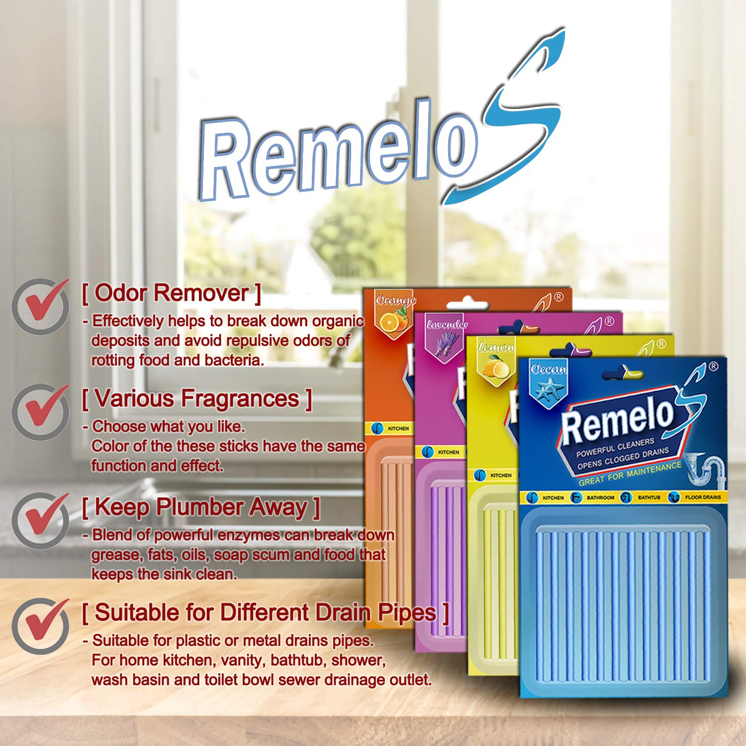 Remelos Drain Cleaner Sticks,Non-Toxic, Enzyme Formula to Eliminate Odors and Prevents Clogged Drains Clean Batonnet Deodorizer Package, 48 Pack. As Seen on TV Keeps Drains Pipes Clear(48pack) by Remelos (Image #5)