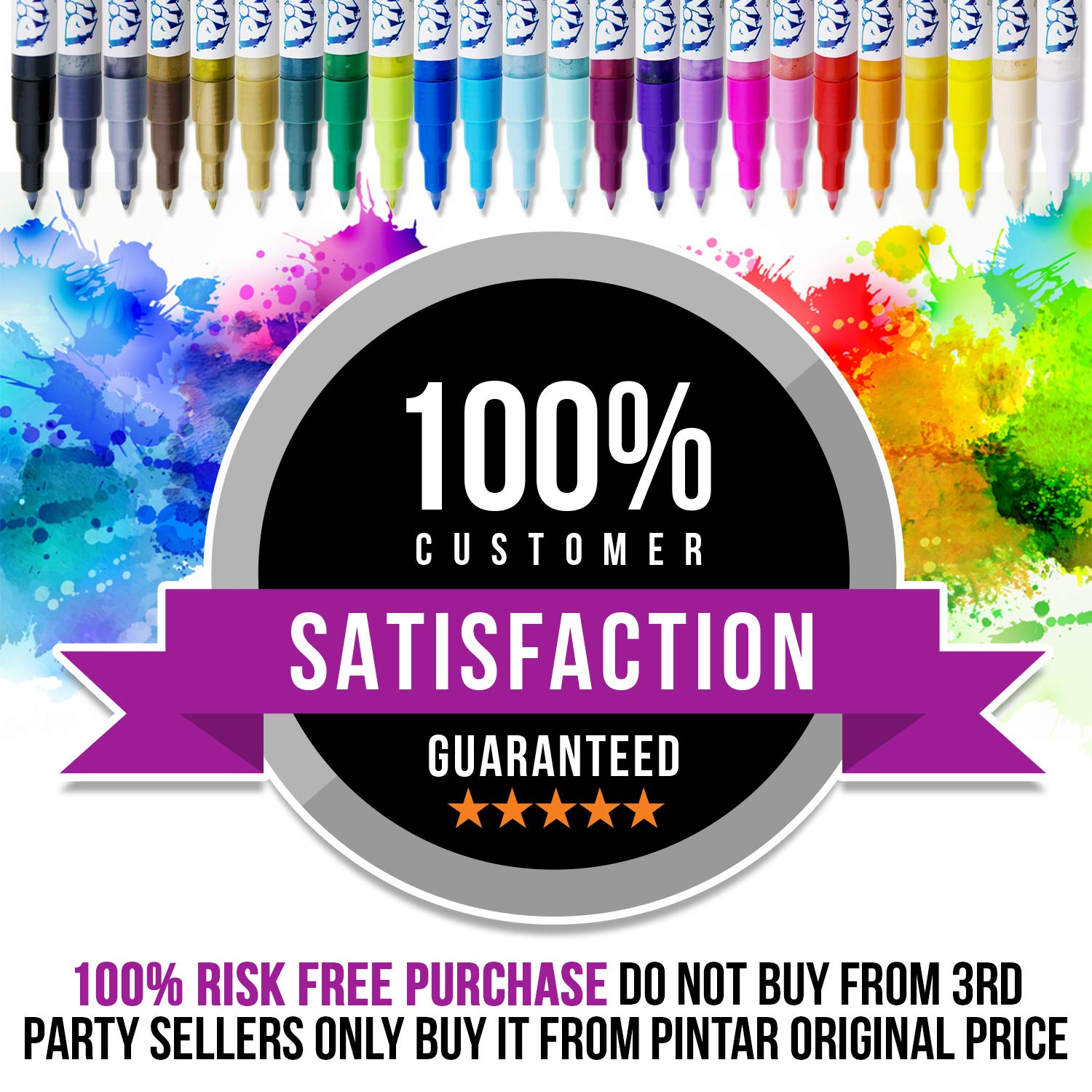 PINTAR - Acrylic Fine Tip Paint Pens For Rock Painting Art - 24 Pack Vibrant Colors for Wood, Glass, Metal and Ceramic - Water Resistant and Quick Drying Ink For Arts & Crafts by PINTAR (Image #6)