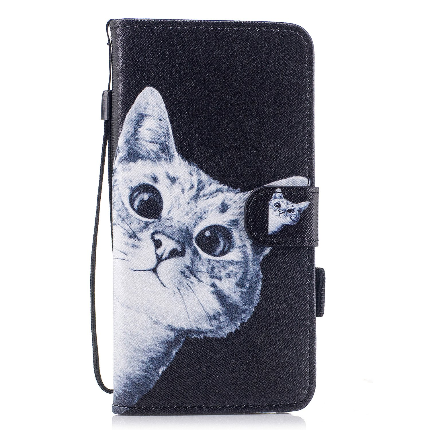 MerKuyom Case Compatible with Galaxy S9 Plus / S9+, [Wrist Strap] Kickstand PU Leather Wallet Pouch [Card Slots] Flip Cover Case Skin for Samsung Galaxy S9 Plus / S9+ (Cute Black Cat)