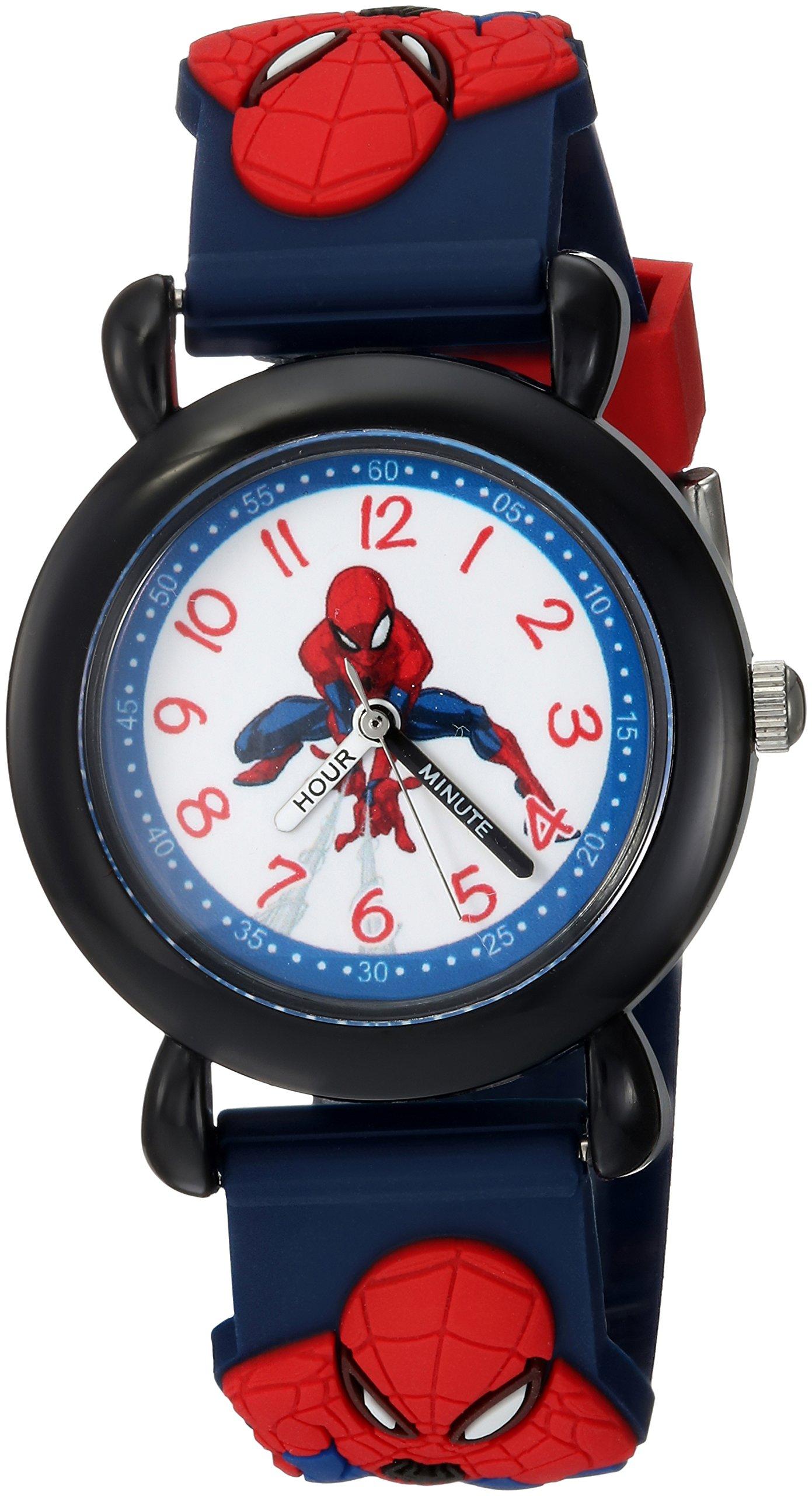 MARVEL Boys Spider-Man Analog-Quartz Watch with Plastic Strap, Blue, 16 (Model: WMA000162