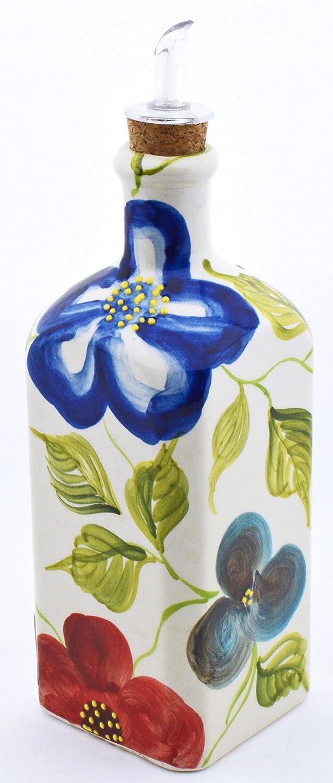 Art Escudellers Botella Cuadrada/ACEITERA/VINAGRERA decoración Jardin en Ceramica Hecha y Pintada a Mano con Flores y Hojas.