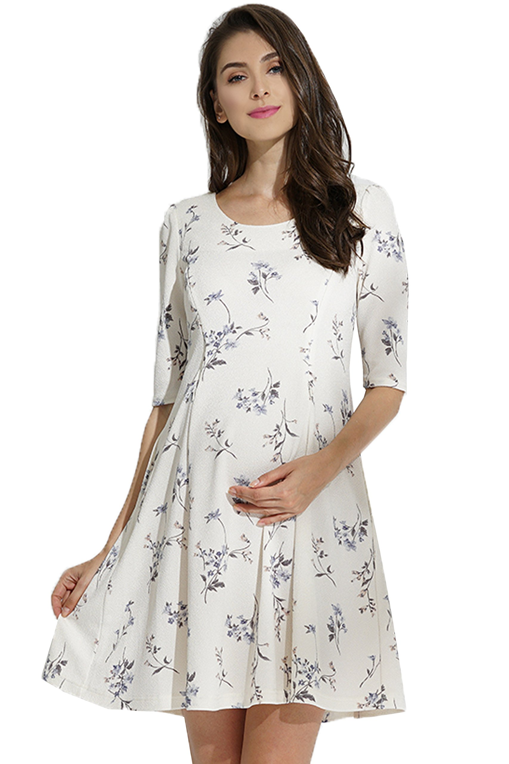 Sweet Mommy Maternity and Nursing Half Length Sleeve Flower Print Flared Dress White M