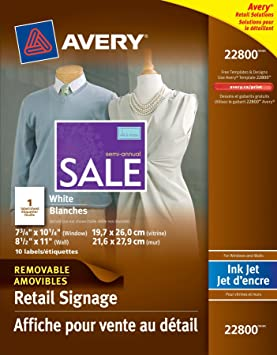 avery removable window and wall signage for inkjet printers pack of