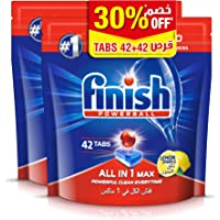 Finish Dishwasher Detergent All in One Tablets, Lemon, 2 x 42 Tabs
