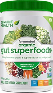 Genuine Health Fermented Organic Gut Superfoods+, Unflavored & Unsweetened Vegan Powder, 10.5oz Tub, 23 Servings