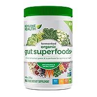 Genuine Health Fermented Organic Gut Superfoods+, Unflavored & Unsweetened Vegan Powder, 10.5oz Tub, 23 Servings