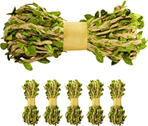 Naidiler 196 Ft Green Leaf Ribbon Jute Burlap Twine Vine with Artificial Leaves for Safari Decor Baby Shower Jungle Decor and DIY Wreath Wraping Craft