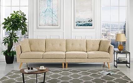 Upholstered Large Fabric Sofa, 114.9\