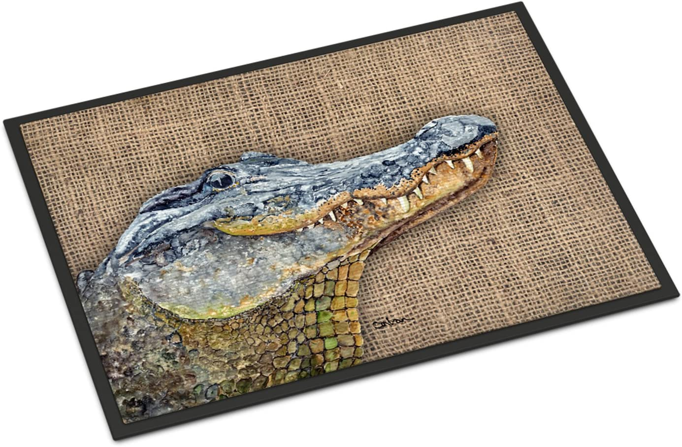 Caroline s Treasures 8733MAT Burlap Alligator Indoor or Outdoor Mat 18×27, 18H X 27W, Multicolor