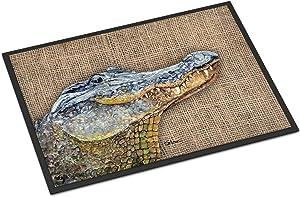 Caroline's Treasures 8733MAT Burlap Alligator Indoor or Outdoor Mat 18x27, 18H X 27W, Multicolor