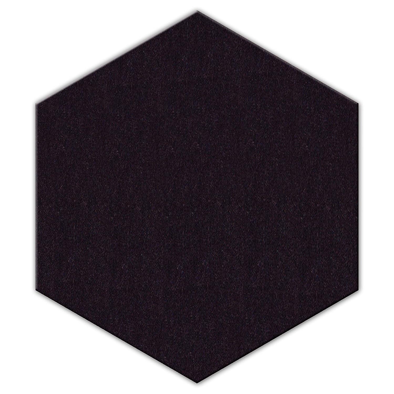 FrankenArt Akustikschaumstoff PolySound Akustik Schaumstoffe aus Basotect® WollFilz Stoff - kaschiert in Hexagon-Form Größe S - Durchmesser Ø20cm - Stärke 3cm - Farbe: 0023 graphitschwarz FrankenCut