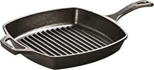 Lodge Cast Iron Square Grill Pan, Pre-Seasoned, 10.5-inch, Black