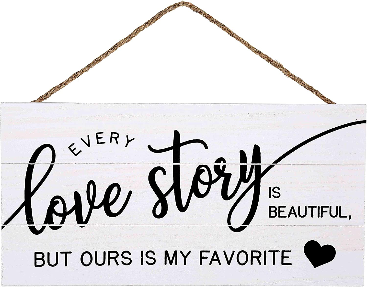 Love Story Wood Plank Hanging Sign for Home Decor (13.75 x 6.9 Inches with White Background)