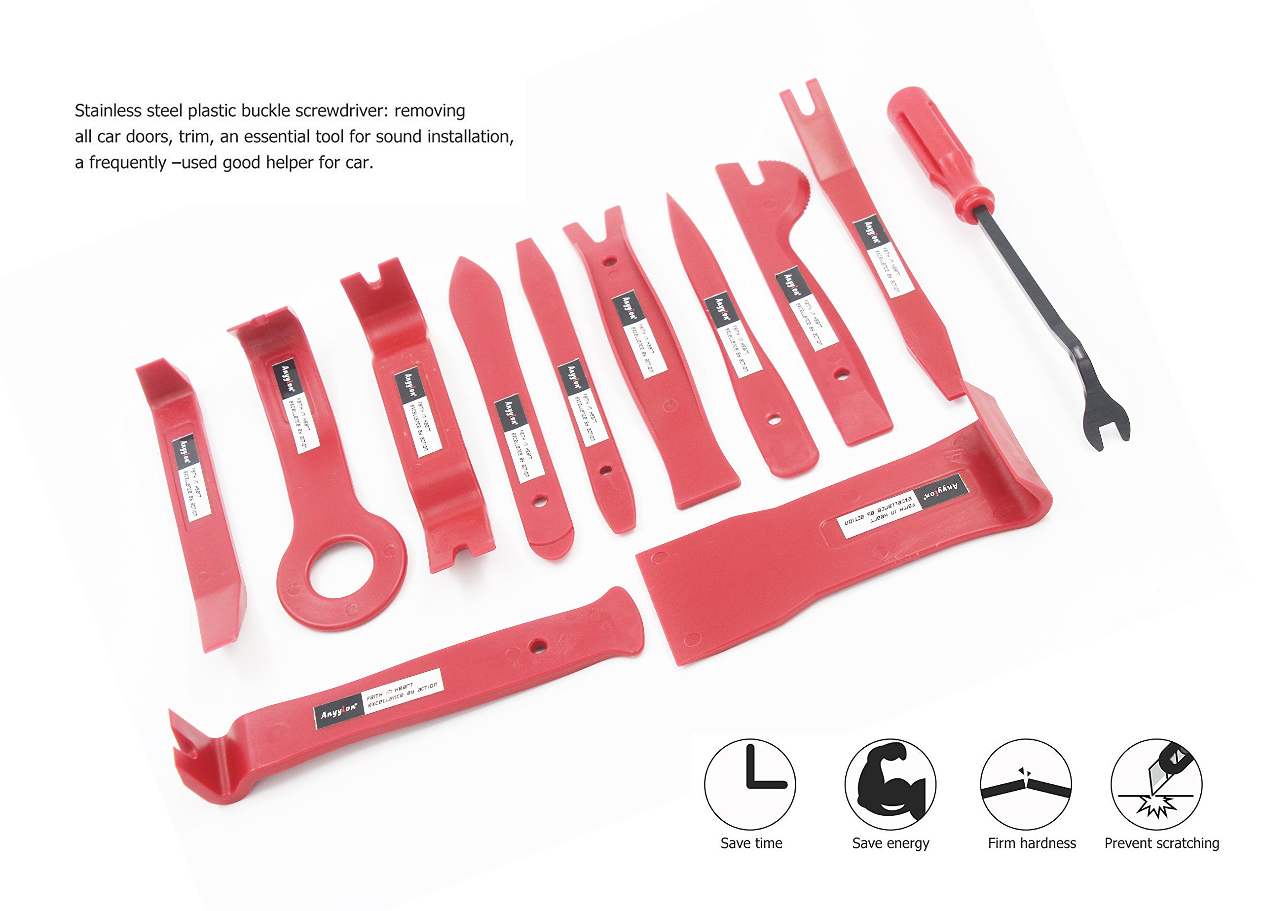 Anyyion Auto Trim Removal Tool,Premium Fastener Remover Panel Removal Tools 12 Pcs Pry Bar Set (Red) by Anyyion (Image #3)
