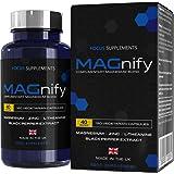 MAGnify integratori magnesio - 5 in 1 magnesio glicinato, magnesio taurato, L-teanina, zinco ed estratto di pepe nero per un migliore assorbimento   Focus Supplements   120 compresse, senza glutine
