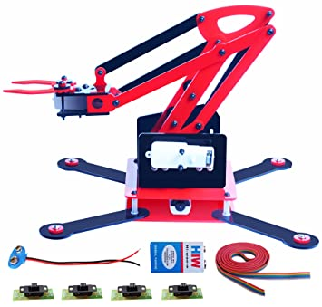 Complete Robotic Arm with 4 Motor, 4 Switch, 9v, 9v Connector, Wire, Instruction Guide – DPDT Slide Switch Controlled Robot Arm Kit - Full Functioning Robotic arm Complete Project with Control Setup
