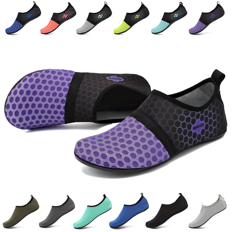 EASTSURE Snorkeling Shoes Water Sport Shoes Aqua Socks for Men Women Beach Swim Surf Yoga Purple 42-43