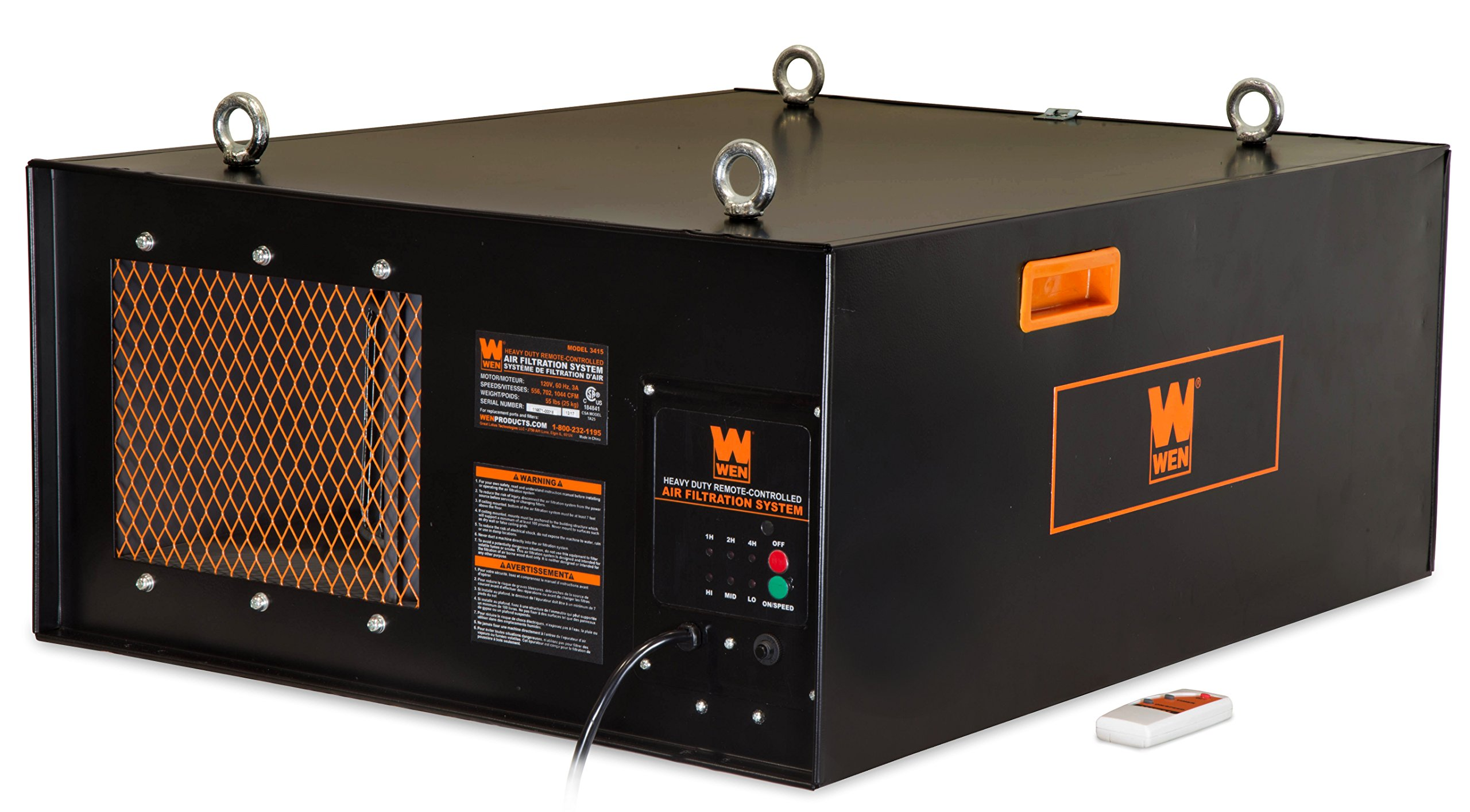 WEN 3415 3-Speed Remote-Controlled Industrial-Strength Air Filtration System (556/702/1044 CFM)